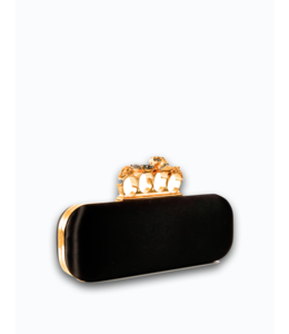 ALEXANDER McQUEEN Silk Black Clutch