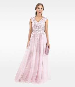 Andrea & Leo Couture Gown With a Gathured  Tulle Skirt