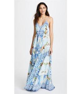 CAMILLA %Langes Kleid Mit V- Ausschnitt