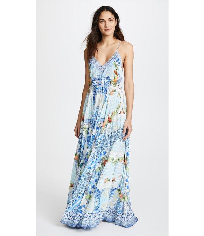CAMILLA Langes Kleid Mit V-Ausschnitt