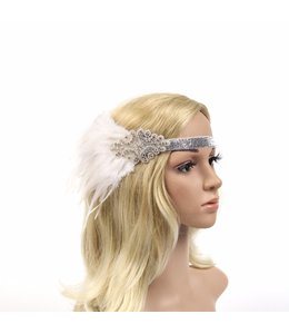 HAND MADE Gatsby Feather Flapper in White