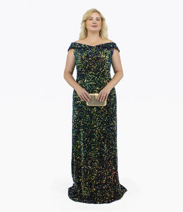 FASHION EMERGENCY Off-the-shoulder Sequin Evening Gown