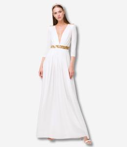 ELISABETTA FRANCHI White Long dress with embroidery