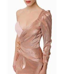 ELISABETTA FRANCHI %Einschultriges Minikleid  in Rosa Gold