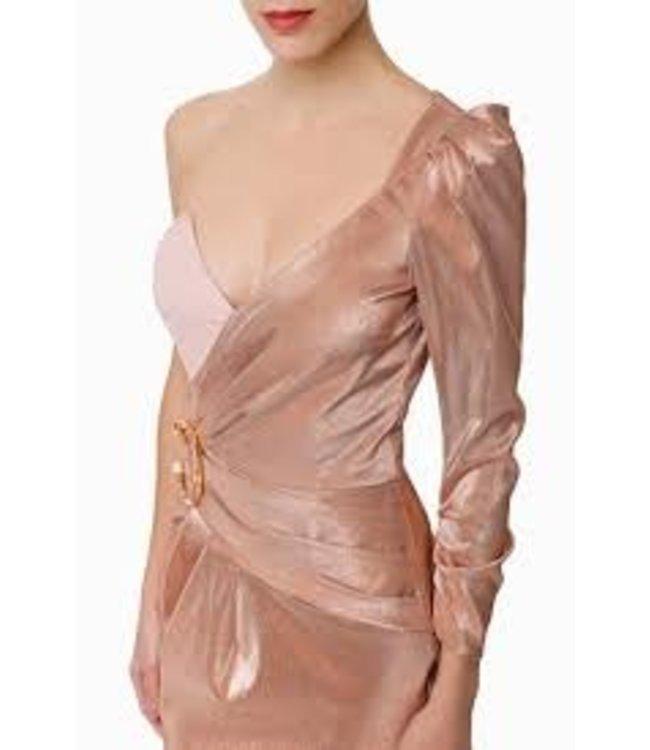 ELISABETTA FRANCHI Kurzes Einschultriges Kleid   in Rosa Gold