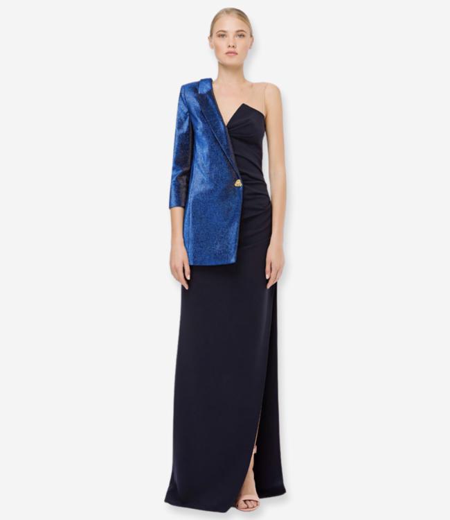 ELISABETTA FRANCHI • Einschultriges Kleid aus Lurex und Crêpe