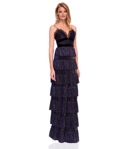 NISSA %Evening Dress With Ruffles