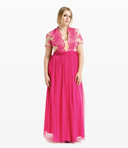 NISSA %Pink Maxi Silk Dress With Lace Detail