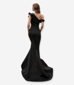 FASHION EMERGENCY One Shoulder Black  Ruffles Evening  Dress