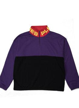 "Pleasures Misfit Colorblock Half Zip Sweater ""Black/Purple"""