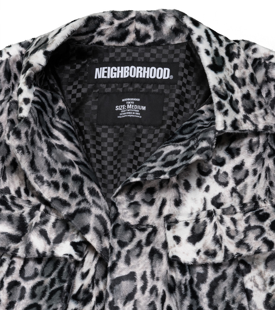 "Neighborhood BDU. Fur Jacket ""Silver Leopard Print"""