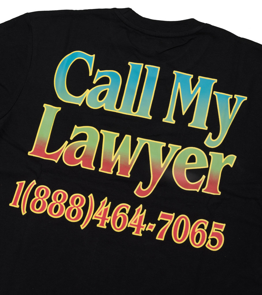 "Chinatown Market Call My Lawyer Rainbow Tee ""Black"""