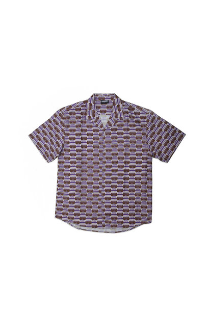 "Highway Short Sleeve Button Up Shirt ""Purple"""