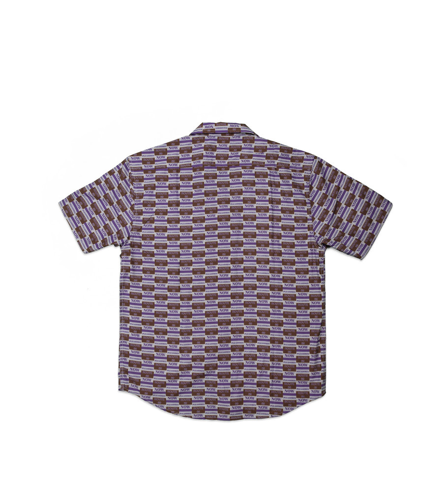 "Pleasures Highway Short Sleeve Button Up Shirt ""Purple"""