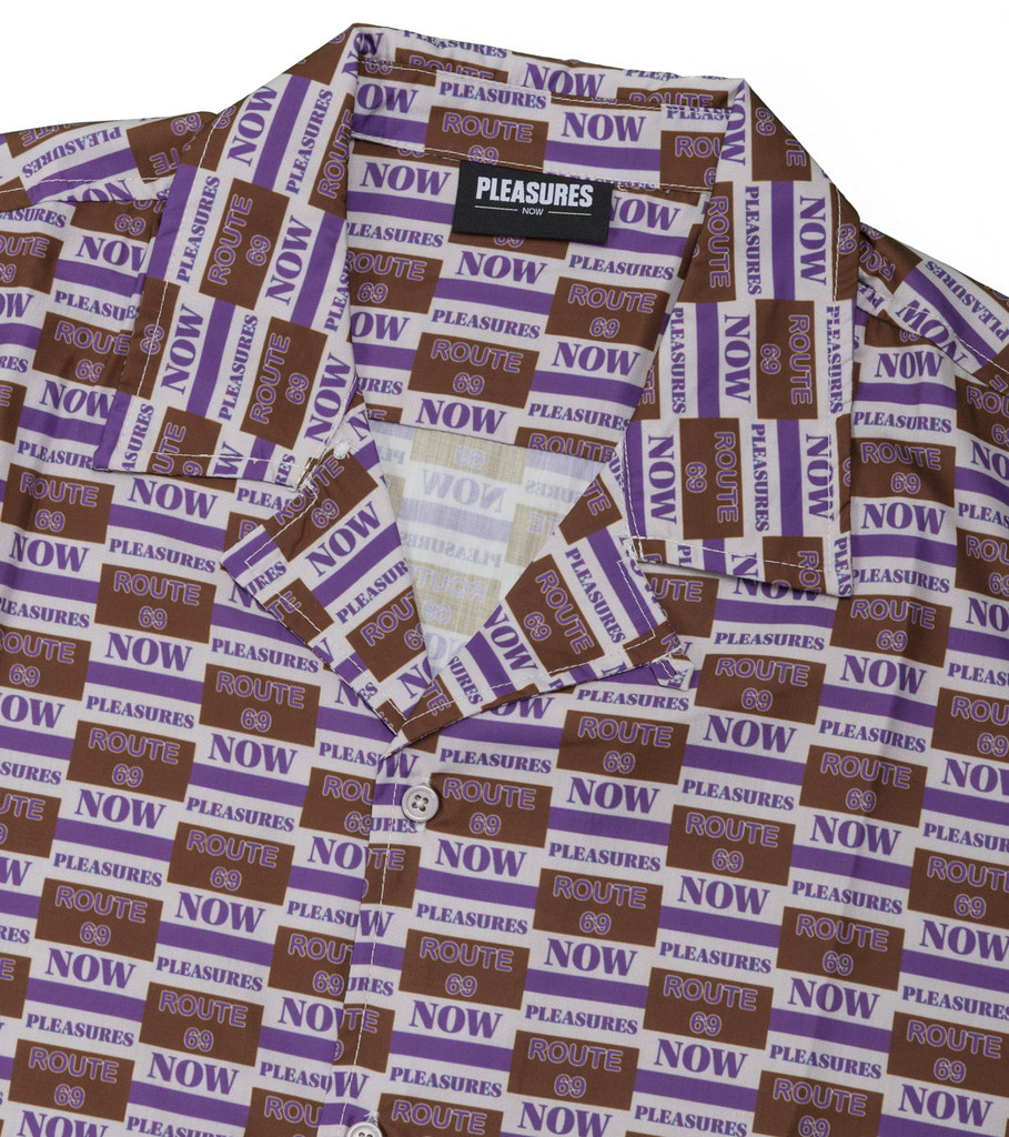 "Highway Short Sleeve Button Up Shirt ""Purple""-3"