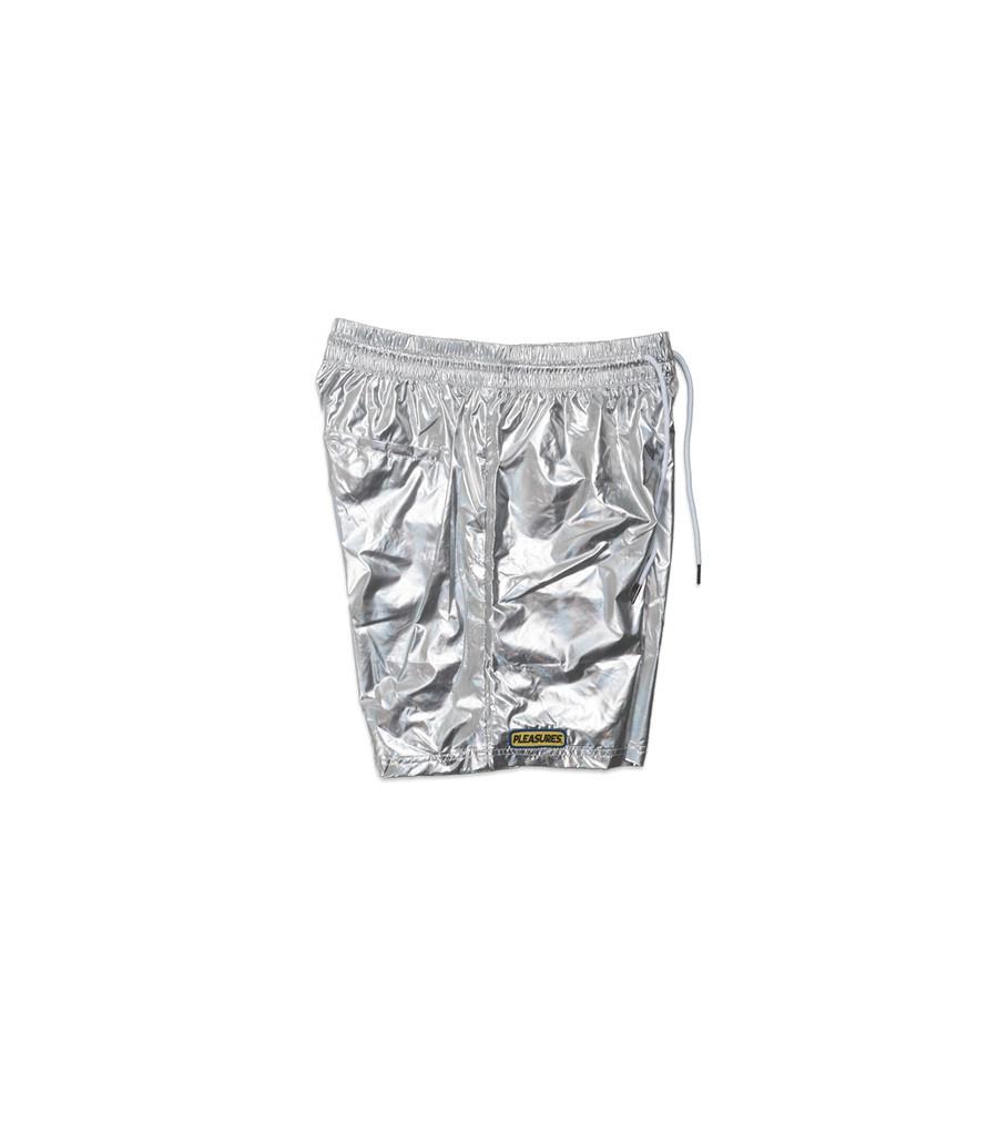 "Pleasures Liquid Metallic Shorts ""Silver"""
