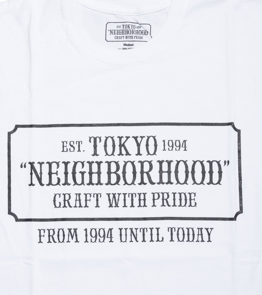"Neighborhood Bar & Shield Tee ""White"""