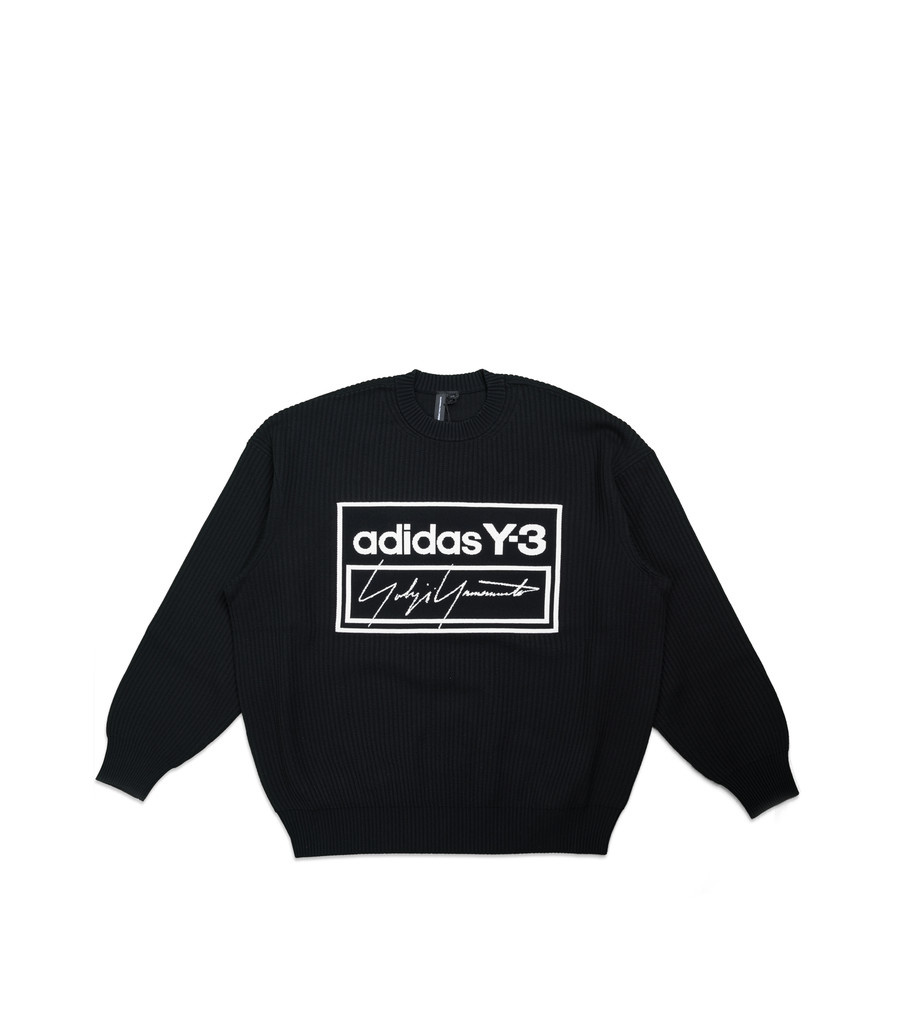 """Y-3 Script Tech Knit Sweatershirt """"Black/White""""-1"""