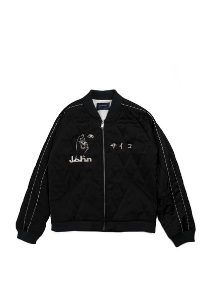 "Satin Quilted Jacket ""Black"""