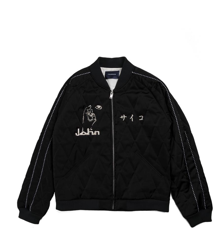 "Satin Quilted Jacket ""Black""-1"