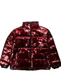 "Chinatown Market Sequin Color Change Puffer Jacket ""Black/Red"""