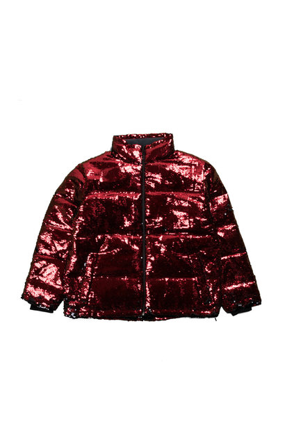 """Sequin Color Change Puffer Jacket """"Black/Red"""""""