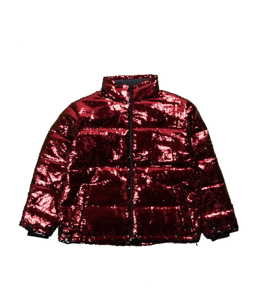 """Sequin Color Change Puffer Jacket """"Black/Red""""-1"""