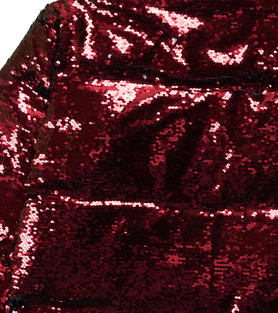 """Sequin Color Change Puffer Jacket """"Black/Red""""-2"""
