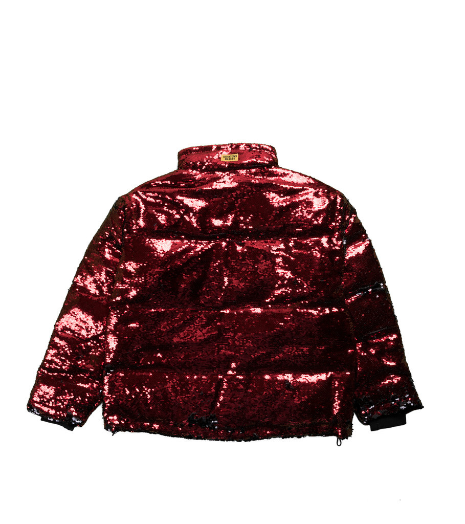 """Chinatown Market Sequin Color Change Puffer Jacket """"Black/Red"""""""