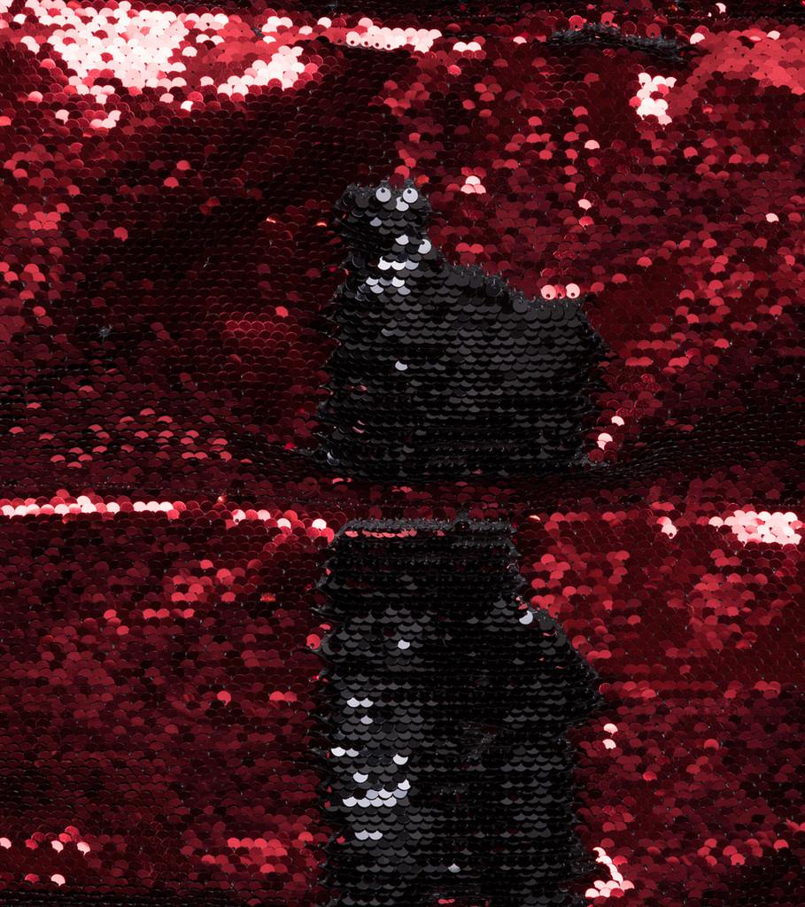 """Sequin Color Change Puffer Jacket """"Black/Red""""-4"""