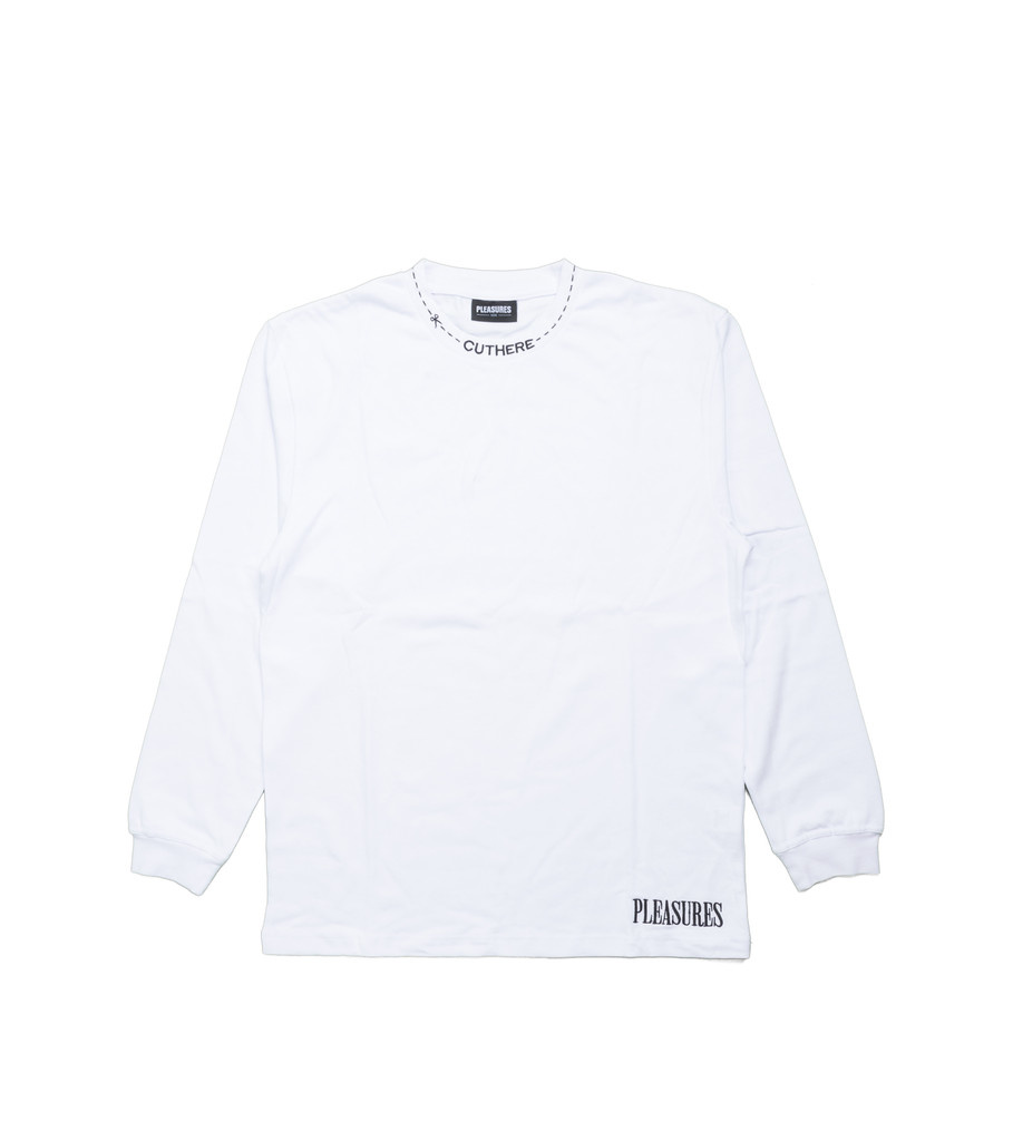 "Pleasures Cut Here Heavyweight LS Tee ""White"""