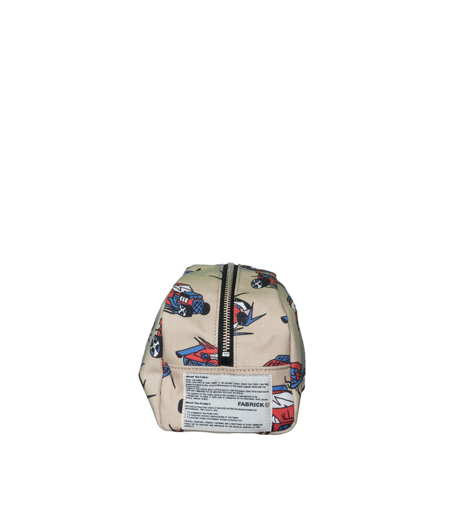 """Black Eye Patch Cars Travel Pouch (Large) """"Natural"""""""