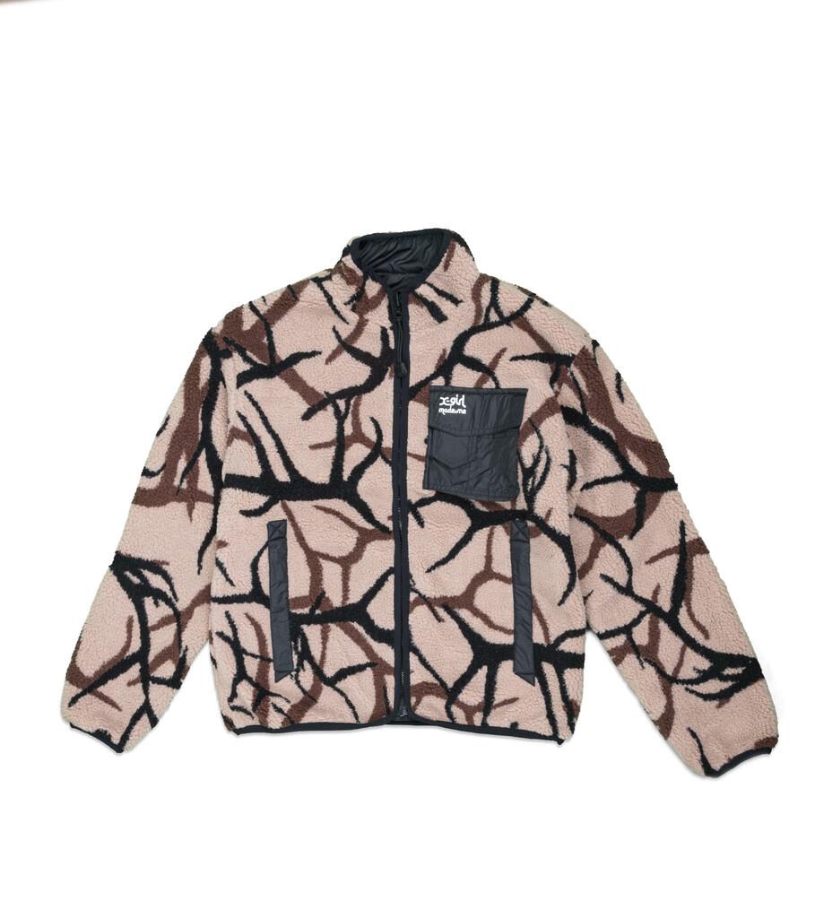 "X-Girl Reversible Fleece Jacket ""Black/Tan""-1"