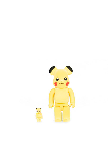 "Flocked Pikachu 100% & 400% Be@rbrick ""Yellow"""