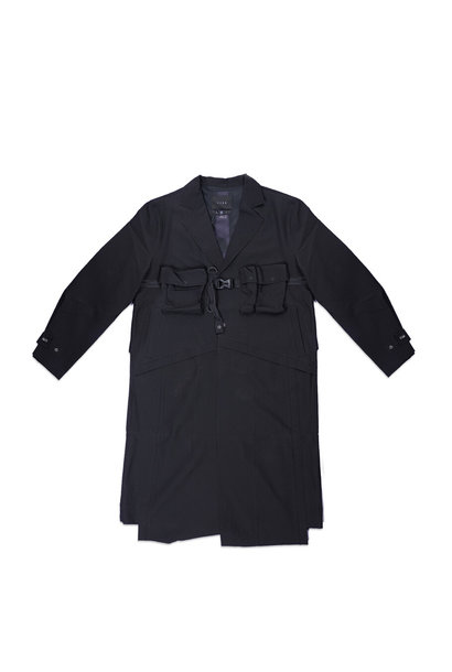 "Seersucker Utility Trenchcoat ""Black"""
