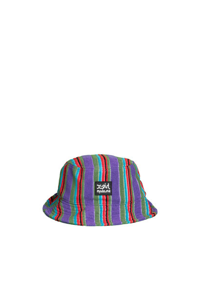 "X-Girl Striped Bucket Hat ""Purple French Terry """
