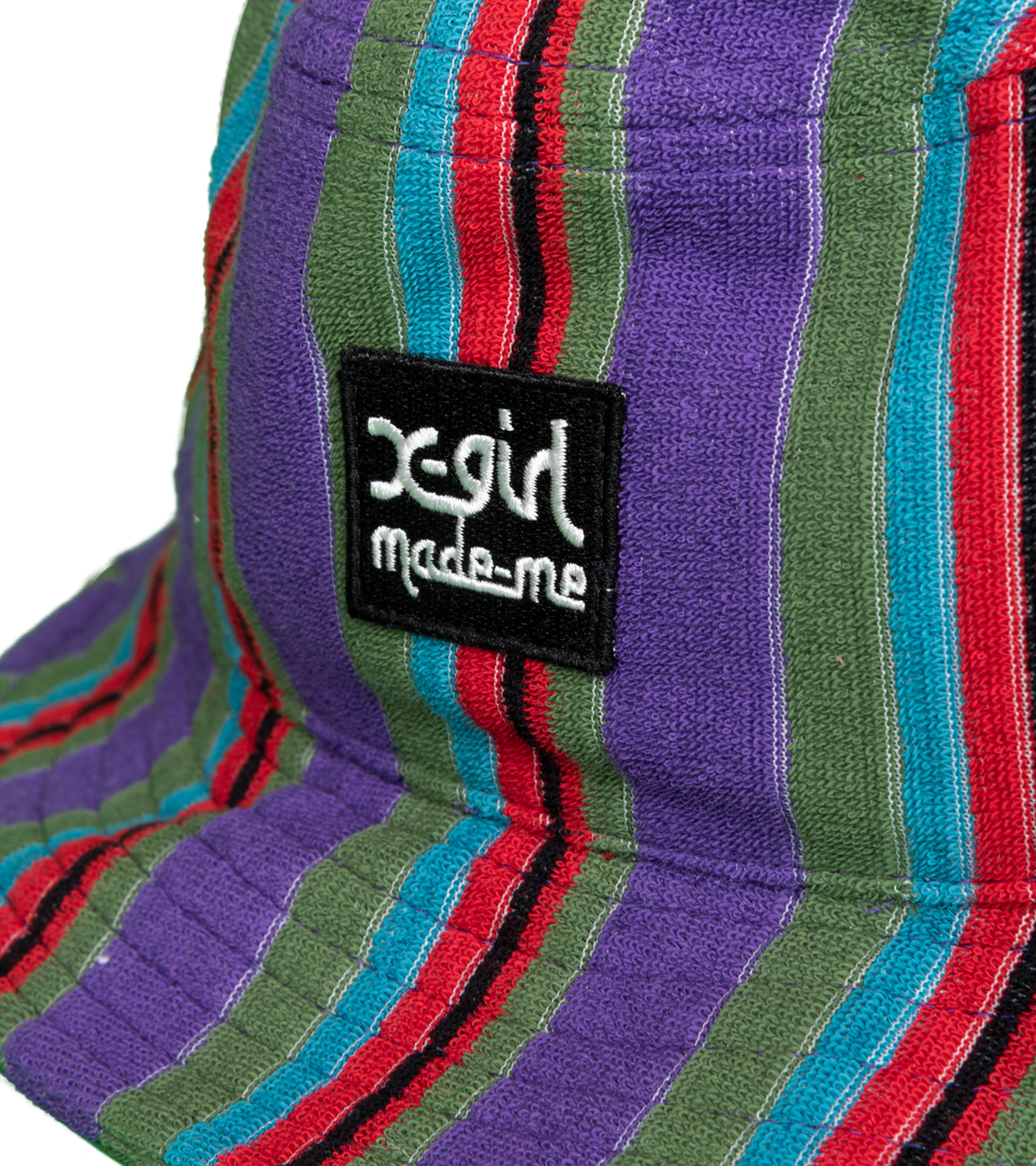 """X-Girl Striped Bucket Hat """"Purple French Terry """"-3"""