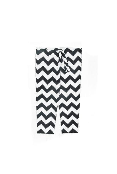"""Zig-Zag Relaxed Pyjama Pants """"White/Black"""""""