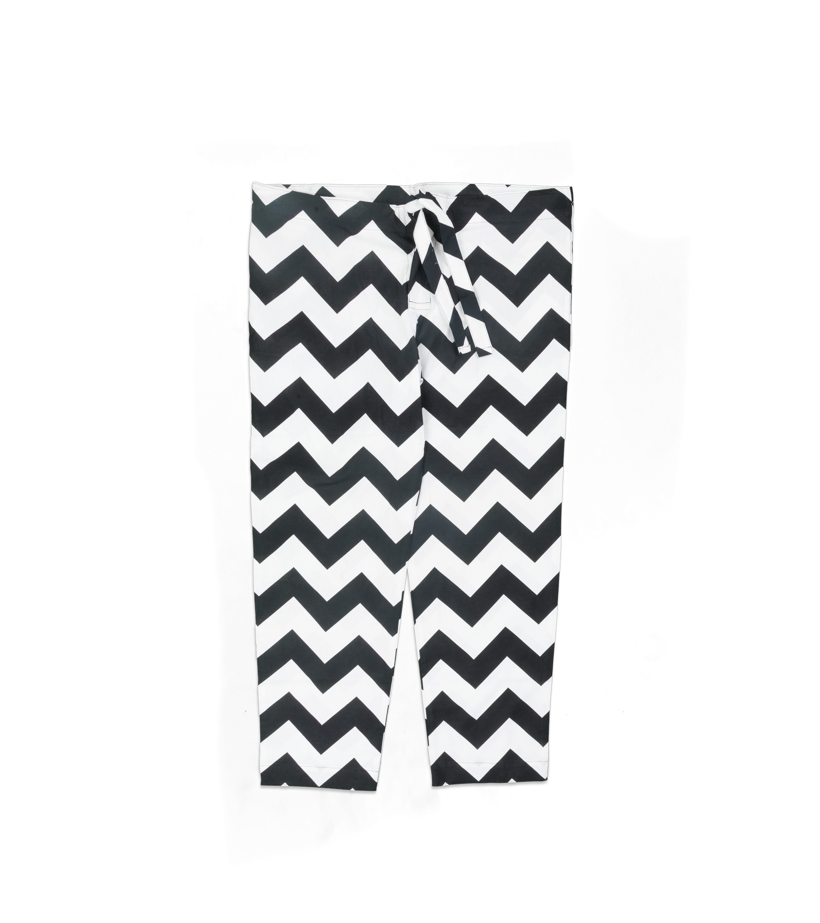 """Zig-Zag Relaxed Pyjama Pants """"White/Black""""-1"""