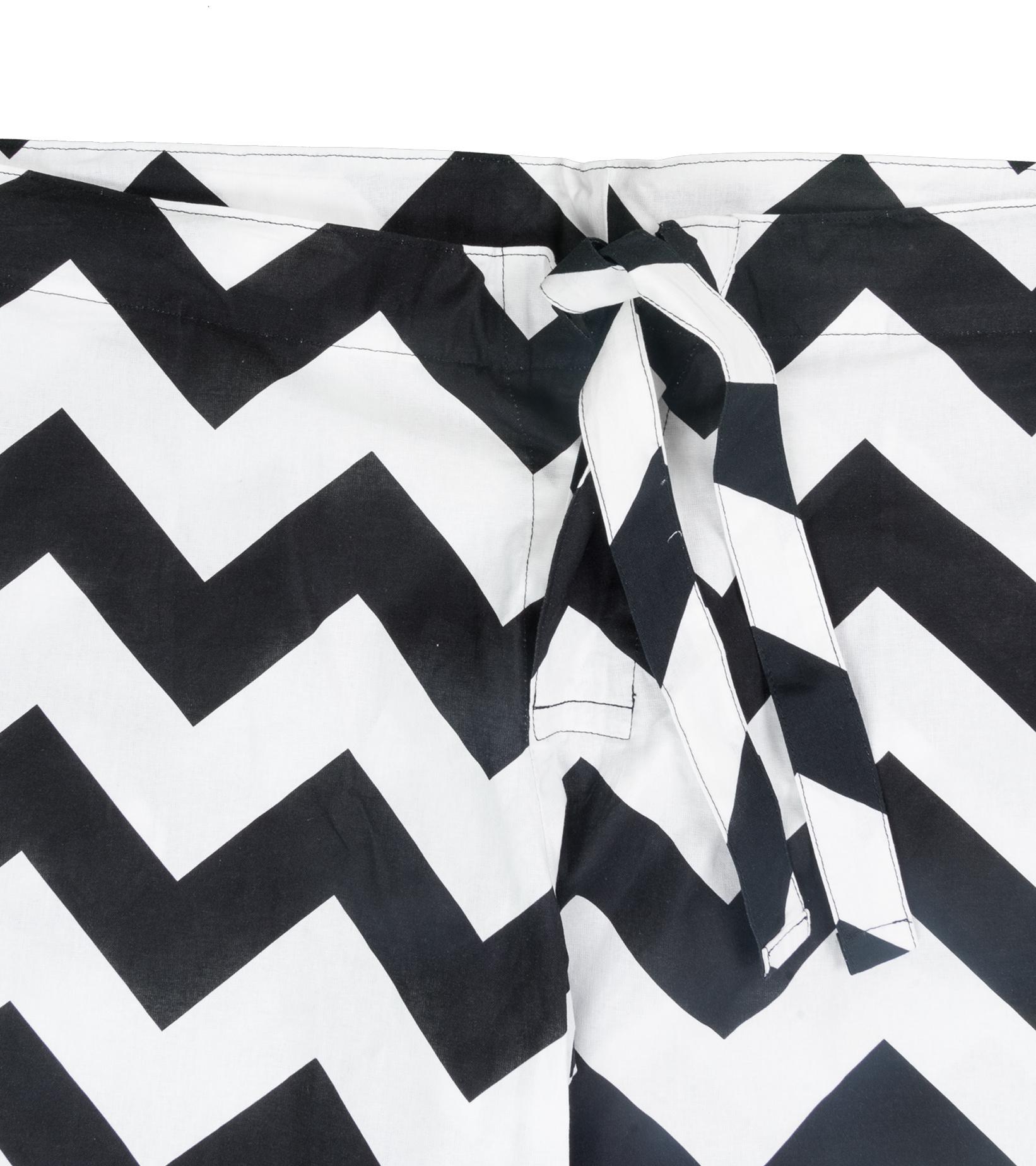 """Zig-Zag Relaxed Pyjama Pants """"White/Black""""-2"""