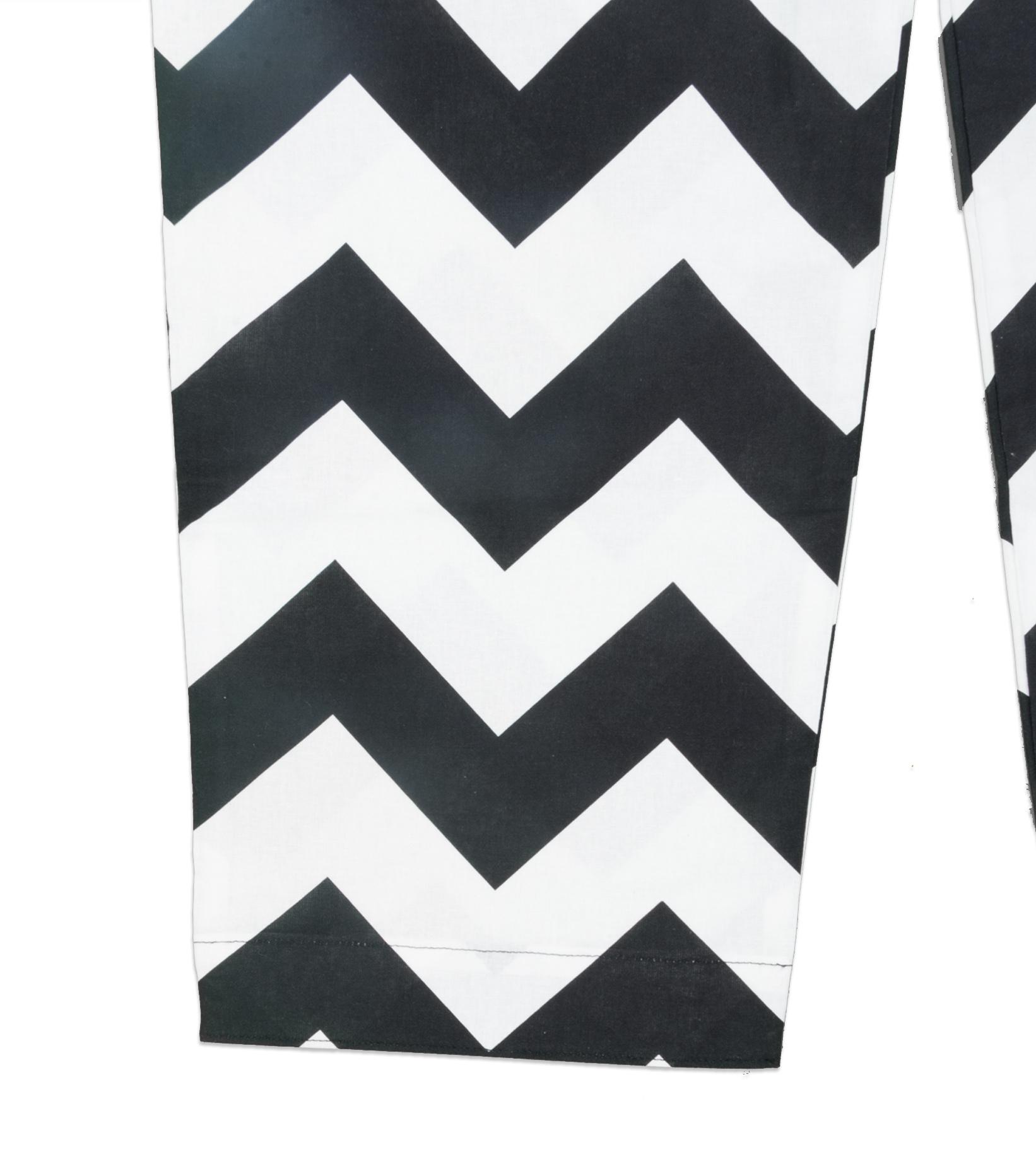 """Zig-Zag Relaxed Pyjama Pants """"White/Black""""-3"""