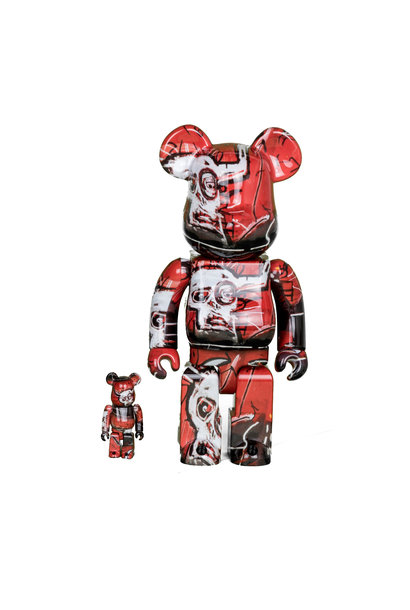 "Jean Michel Basquiat #5 100% & 400% Be@Rbrick ""Black/Red"""