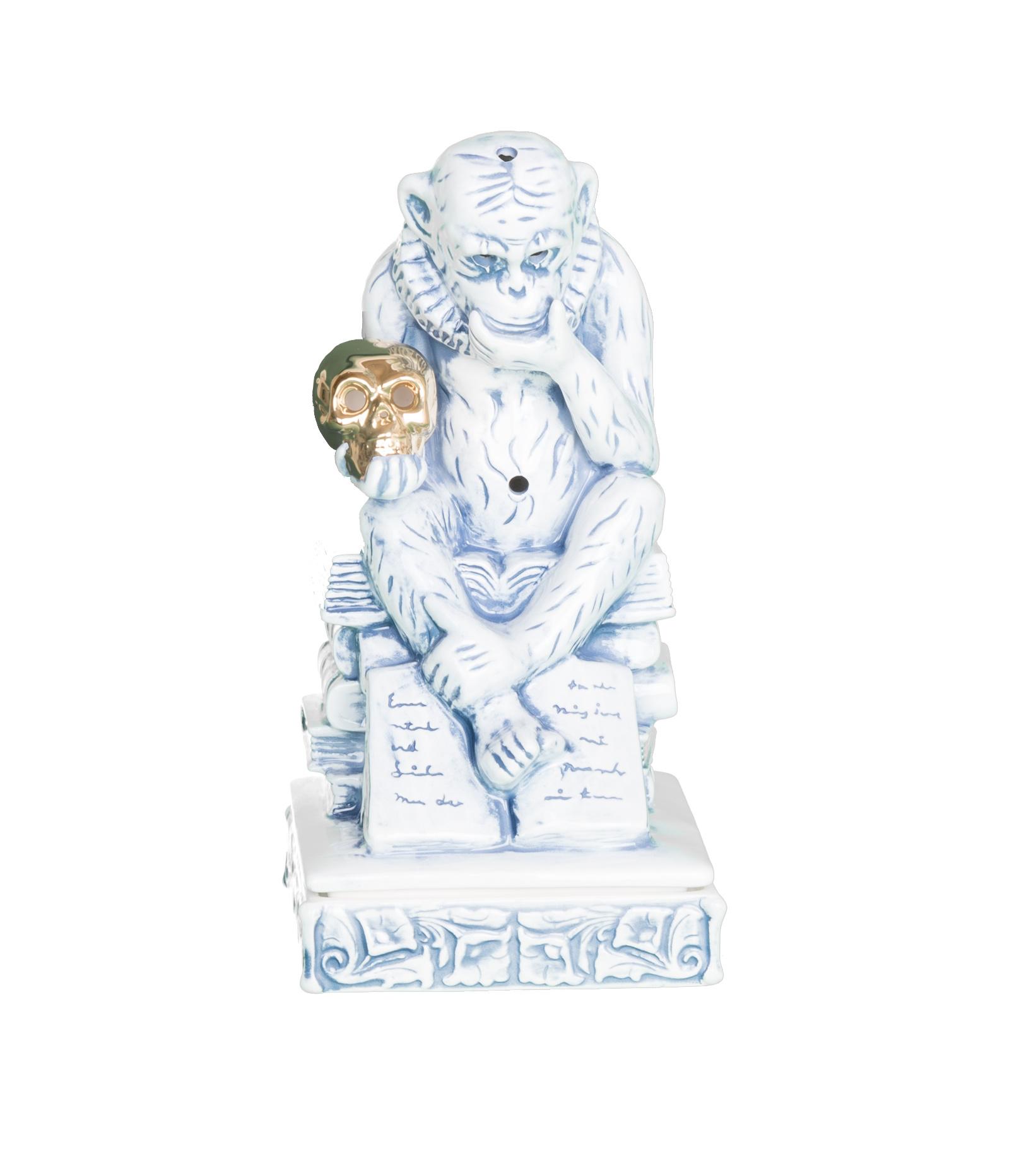 "Thinking Monkey Ceramic Incense Chamber ""Blue""-1"