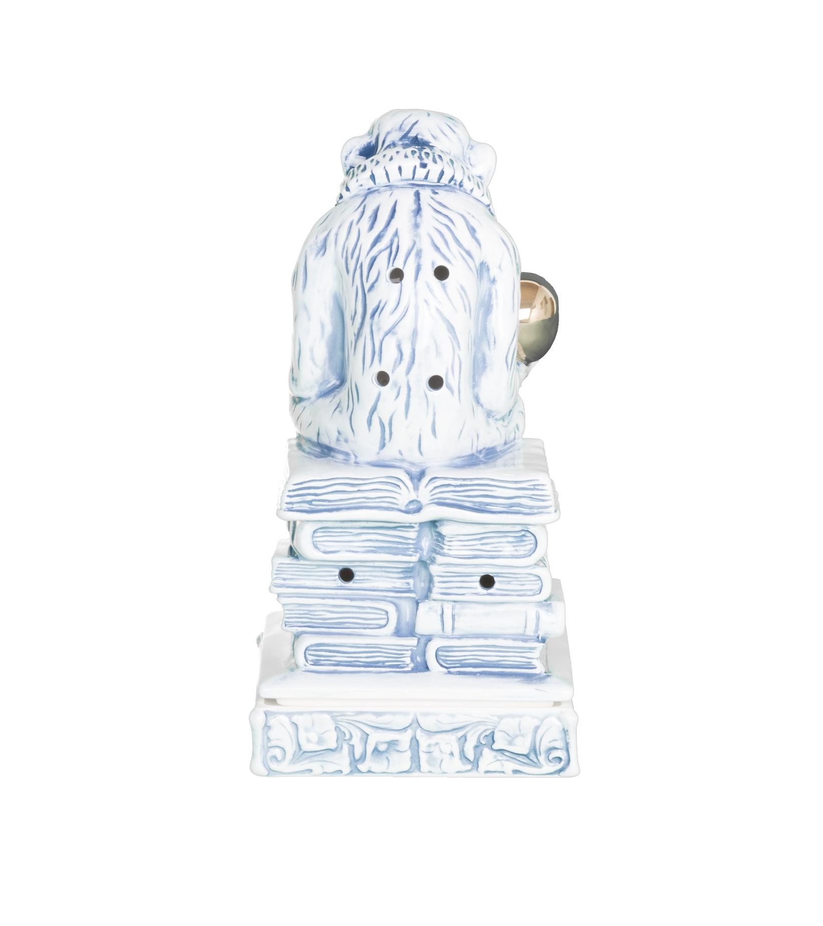 "Thinking Monkey Ceramic Incense Chamber ""Blue""-3"