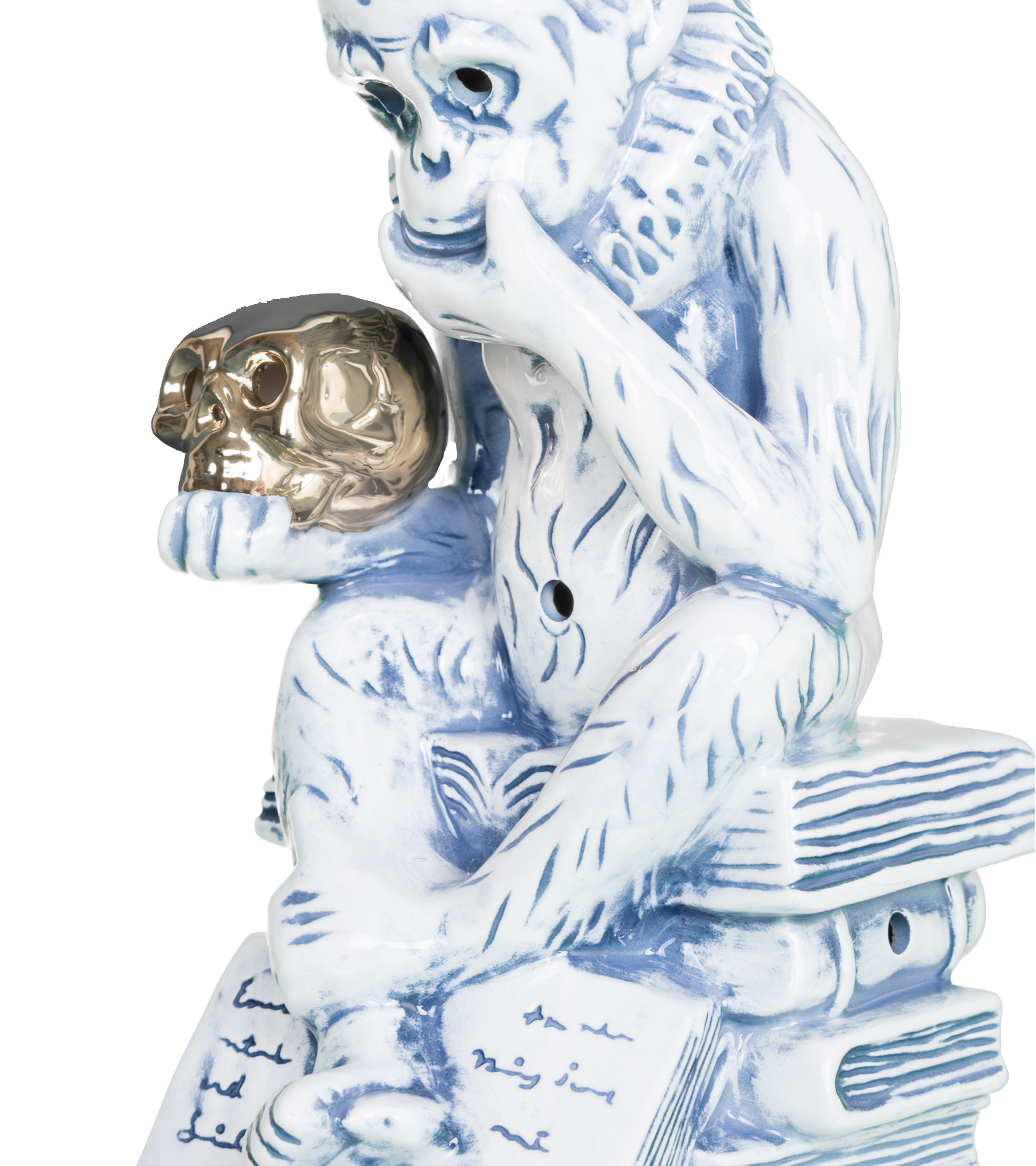 "Thinking Monkey Ceramic Incense Chamber ""Blue""-4"