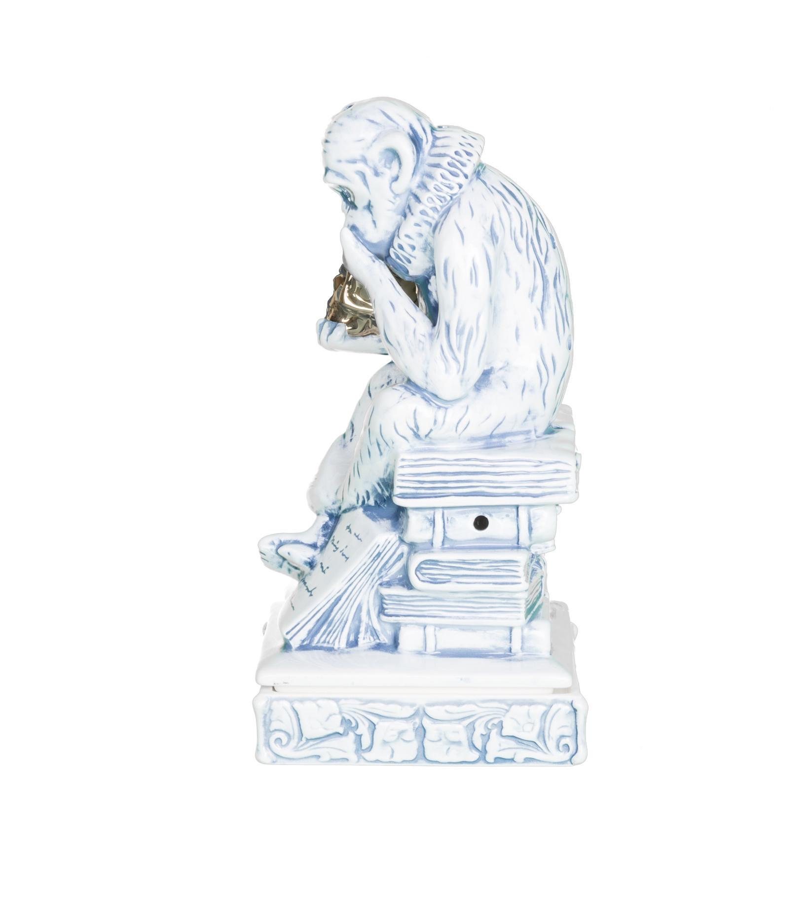 "Thinking Monkey Ceramic Incense Chamber ""Blue""-5"