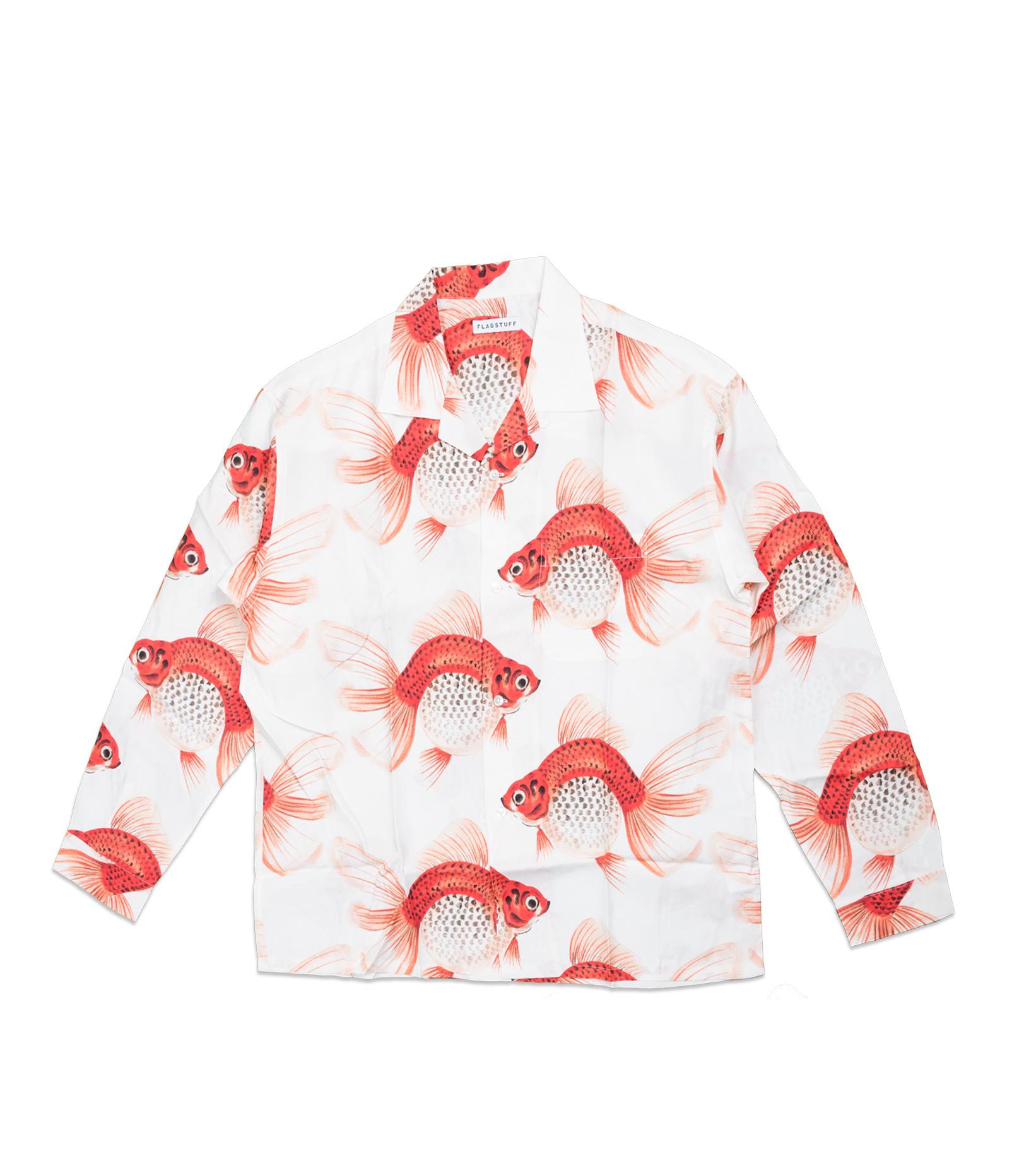 "Goldfish AOP Rayon Shirt ""White""-1"