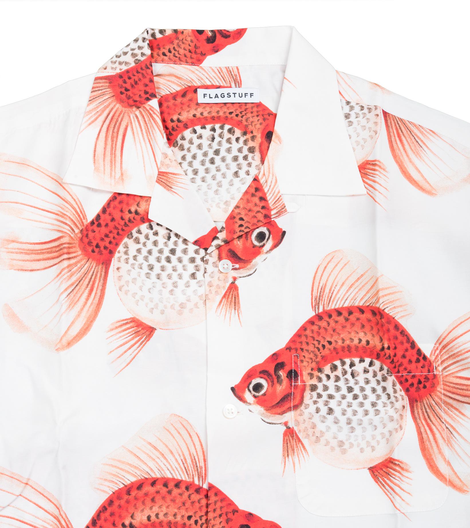 "Goldfish AOP Rayon Shirt ""White""-2"