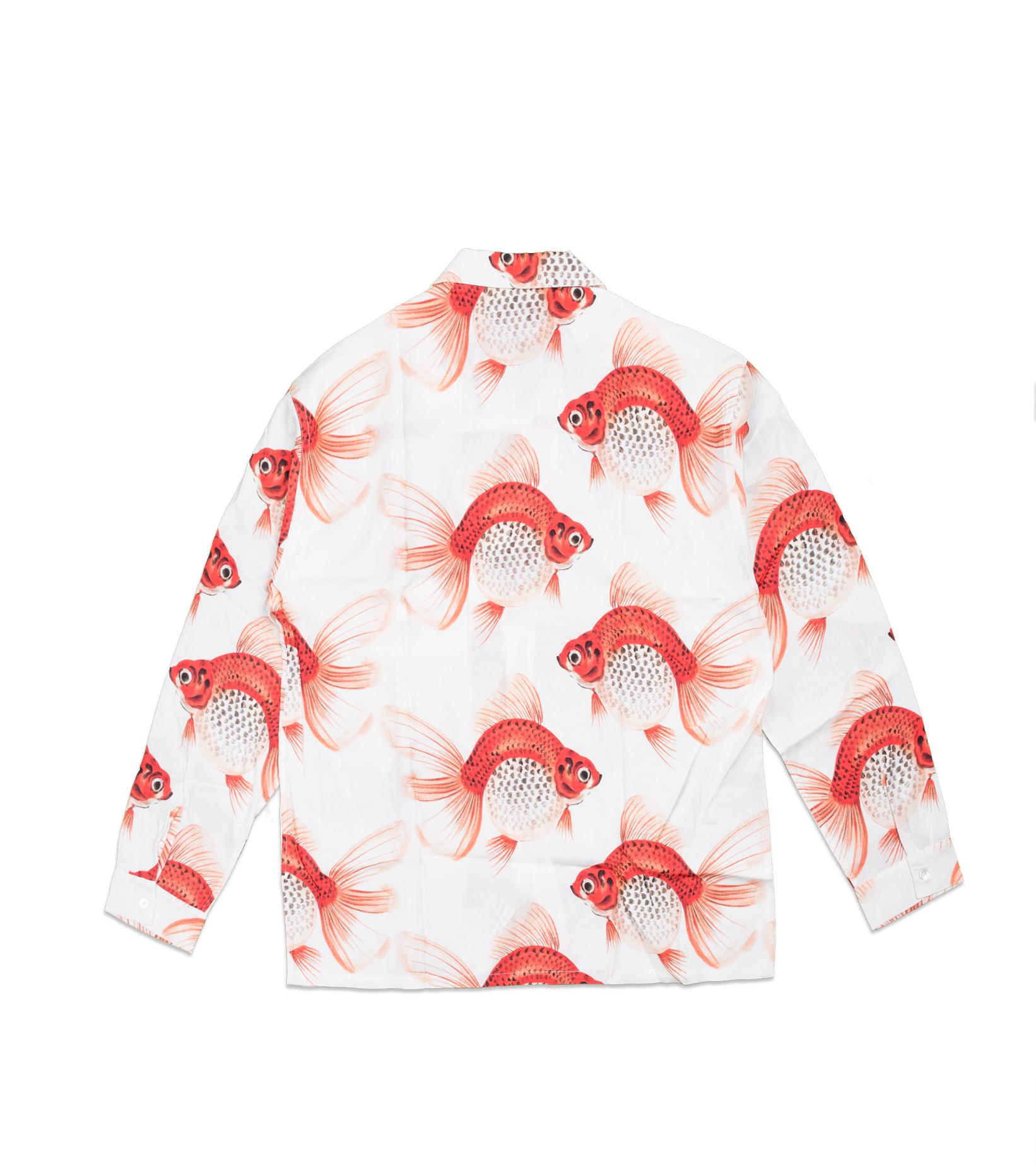"Goldfish AOP Rayon Shirt ""White""-3"