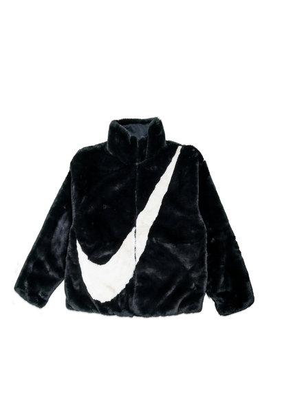 "Swoosh Faux Fur Jacket ""Black/Fossil"""